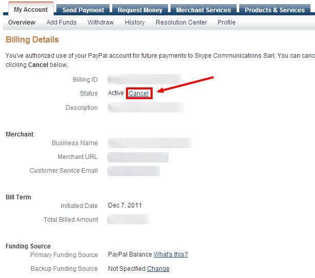 Прекратяване на абонамент в PayPal