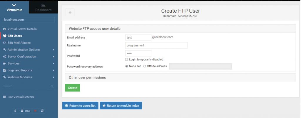 Създаване на нов ftp акаунт-Virtualmin